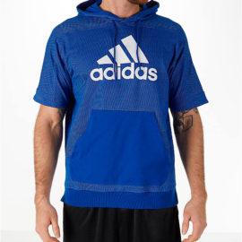 adidas Sport Short-Sleeve Hoodie in Blue